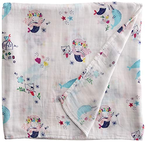 Angel Dear Bamboo Swaddle Blanket, Mermaid and Friends