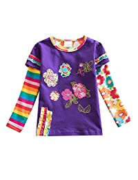 DXTON Children Summer Casual Cotton Rainbow Short Sleeve Girl Dress