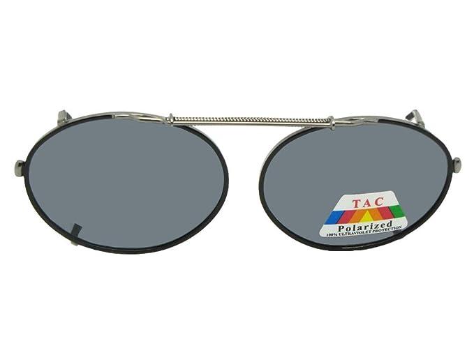 cdd9fe6210 Amazon.com  Oval Polarized Clip-on Sunglasses (Black Frame-Gray ...