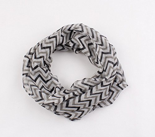 Dealzip Inc Excellent Infinity Scarves, Infinity Scarves Black Mix Gray Chevron Wave Pattern Soft Fashion French Infinity Chiffon Scarf Cotton Elegant Ethnic Express Gray Girls(Size:155cmX48cm)