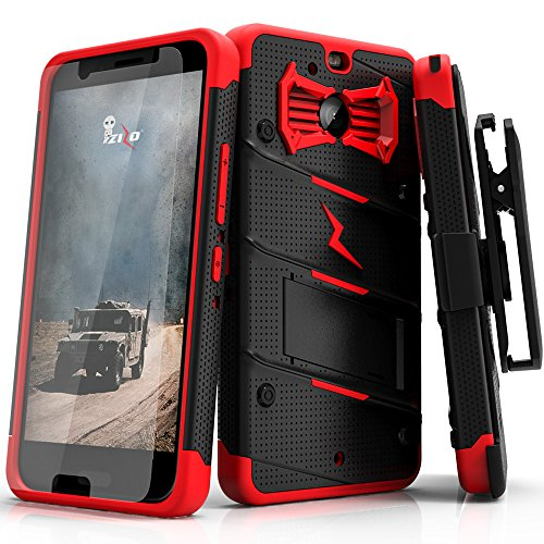 Zizo Bolt Series Compatible with HTC Bolt with [Screen Protector] Kickstand [Military Grade Drop Tested] Holster Belt Clip (Black/Red)