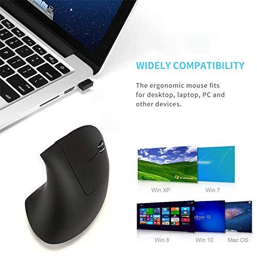 2.4G Wireless Vertical Ergonomic Optical Mouse, Reduce Wrist Pain, 6 Buttons 3 Adjustable DPI 1000/1600/2000 Levels, Better Performance for PC, Desktop, Laptop - Black