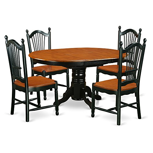 East West Furniture KEDO5-BCH-W 5 Piece Table & Chair Set with One Kenley Dining Table & Four Kitchen Chairs, Black/Cherry ()