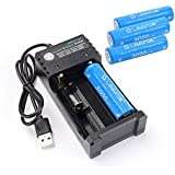 18650 Battery and 2-slot Universal Battery Charger, LAVAFOX 4PCS 18650 3.7V 3000mah High-capacity Li-ion Protected Rechargeable Batteries Power for Flashlight, Headlamps, etc (4 Batteries+charger)