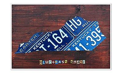 Kentucky - License Plate Art - 24x16 Matte Poster Print Wall Art