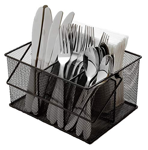 (Ashman Silverware Caddy - Flatware, Cutlery, and Utensil Organizer with Napkin Holder & Condiments for Kitchen, Dining, Outdoors, Picnics and Parties - (Black Steel Mesh))