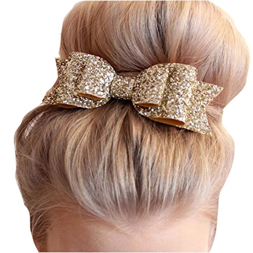 Missgrace Womens Satin Big Bow Hair Clip Barrette Accessory-Sequin Bow Clips