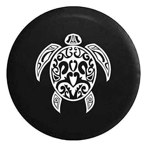 Endangered Sea Turtle Tribal Shell Spare Jeep Wrangler Camper SUV Tire Cover White Ink 32 in