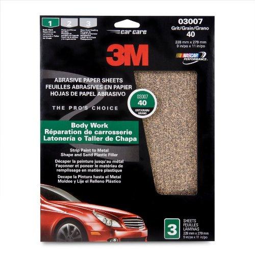 3M 03007 9'' x 11'' Coarse Aluminum Oxide Automotive Sandpaper (Pack of 40)