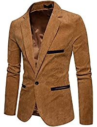 "<span class=""a-offscreen"">[Sponsored]</span>Men's Long Sleeve Slim Fit Corduroy Lapel Casual Blazer Jacket One Button Coat"