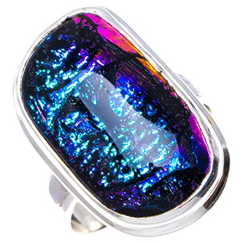 Natural Rainbow Dichroic Glass Handmade Unique 925 Sterling Silver Ring 5.5 B1192