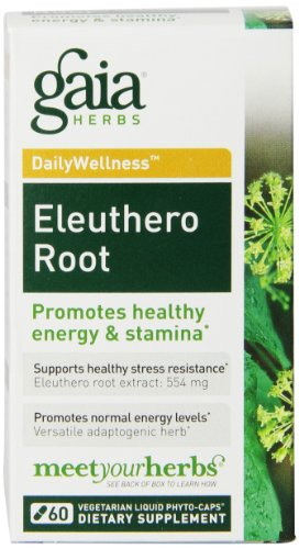 Siberian Extract Root Eleuthero (Gaia Herbs Eleuthero Root, Vegan Liquid Capsules, 60 Count, Healthy Energy and Stamina, Mental Endurance, Metabolic Efficiency and Stress Resistance, Siberian Ginseng 554mg)