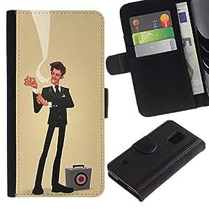 Paccase / Billetera de Cuero Caso del tirón Titular de la tarjeta Carcasa Funda para - sir businessman yellow sales bulls eye - Samsung Galaxy S5 V SM-G900