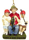 """JWM Take A Kid Fishing Dad & Kids Christmas Ornament 3.5"""" #25449"""