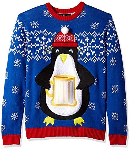 Blizzard Bay Men's Penguin Beer Pocket Ugly Christmas Sweater, Large -