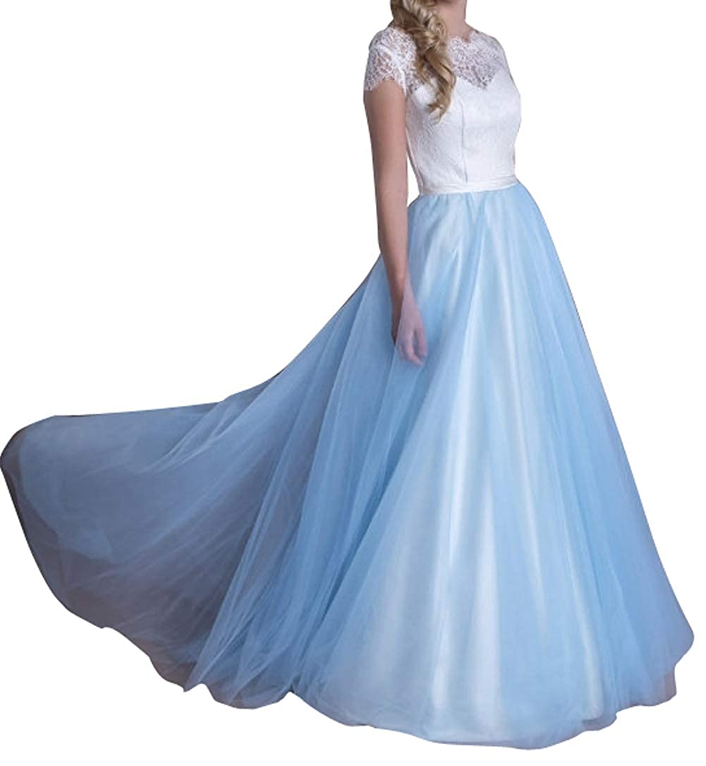 Ivorybluee flowerry Women Wedding Detachable Train Overskirt Bridal Long Train Tutu Tulle Ball Skirt Ombre color