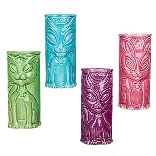 Accoutrements 4 Tiki Tumblers Ceramic Hawaiian Luau Party Mugs Glasses-Party Pack (Cat, ()