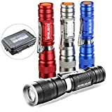 BYBLIGHT Small LED Torches Pack of 4, Super Bright 180 Lumens Cree Torch Light, Waterproof Adjustable Focus Zoomable Pocket Flashlight (Colored Torch with Clip)