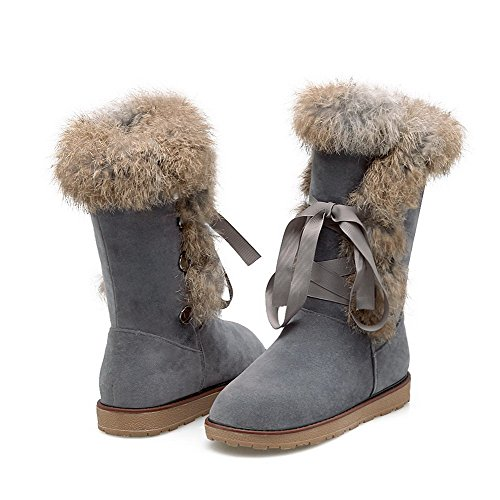 Gray Closed top WeiPoot Boots Lace Low Toe Snow Low up Round Heels Women's Frosted zzrwpqOE