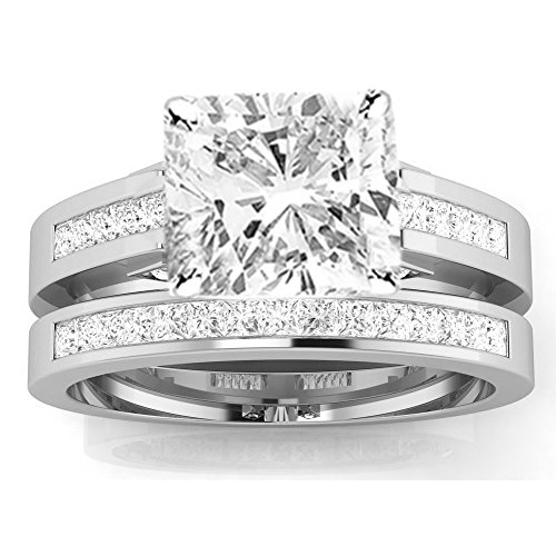 1.7 Cttw 14K White Gold Cushion Cut Channel Set Princess Cut Bridal Set Diamond Engagement Ring Wedding Band with a 1 Carat J-K Color I2 Clarity Center