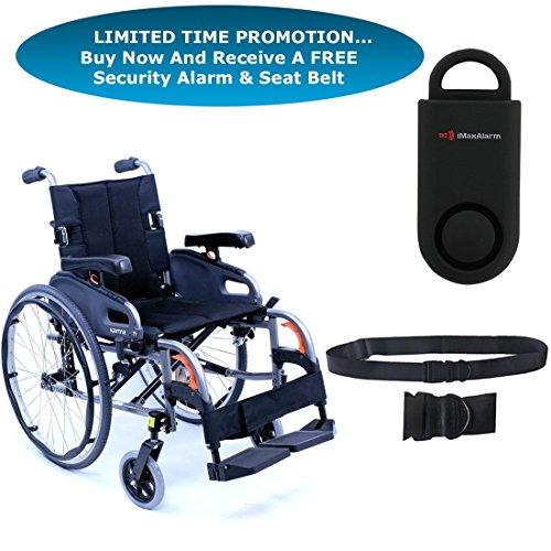 "Karman KM8522 Flexx Wheelchair KM8522Q2018S, Ultra Lightweight, Quick Release Axles, Diamond Black, 20"" Width X18"" Depth & Free 130 dB Black Personal Safety Alarm/Siren! + Black Belt!"