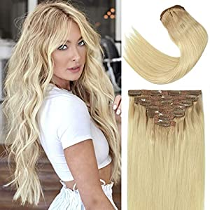 Lacer 22 Inch Human Hair Extensions Clip In Ombre Light Golden Brown Roots to Platinum Blonde Remy Hair Full Head Silky…