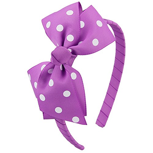 7Rainbows Fashion Polka Dot Purple Bows Headbands for Toddlers Girls (FS060-463D029) -
