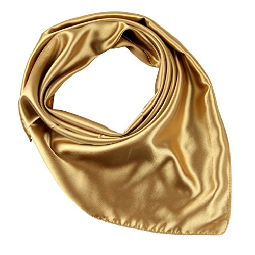 COMVIP Women's Solid Square Polyester Satin Neck Scarf Hair Bandana Champagne -