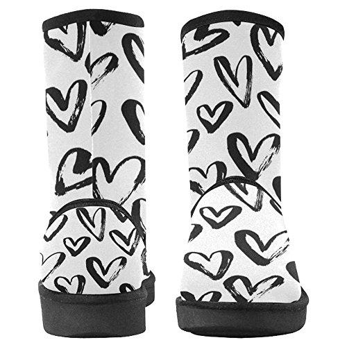 Scarponi Da Neve Womens Interestprint Design Unico Comfort Invernale Stivali Modello Cuore Astratto Multi 1