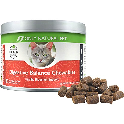 Only Natural Pet Digestive Balance Chewables for Cats with Digestive Enzymes, Prebiotics and Probiotics to Offer Complete Gastrointestinal Support - 60 Soft Chews (3.2 oz)