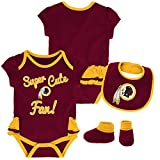Outerstuff NFL NFL Washington Redskins Newborn & Infant Mini Trifecta Bodysuit, Bib, and Bootie Set Burgundy, 18 Months