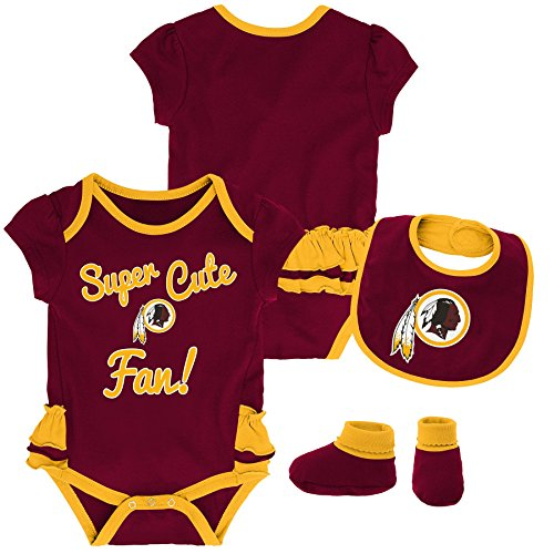 Outerstuff NFL NFL Washington Redskins Newborn & Infant Mini Trifecta Bodysuit, Bib, and Bootie Set Burgundy, 12 Months