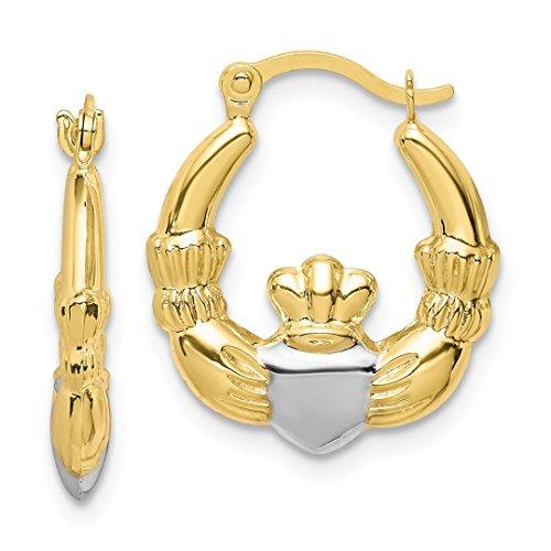 Claddagh Earrings Celtic (10k Yellow Gold Irish Claddagh Celtic Knot Hoop Earrings Ear Hoops Set Fine Jewelry For Women Gift Set)