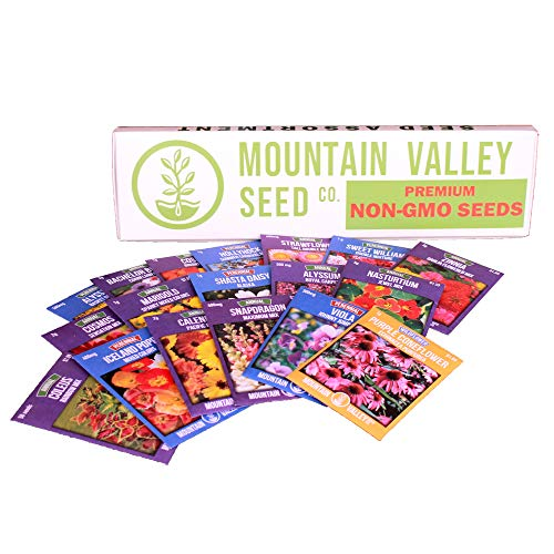 Annual Flower Garden Seed Collection - Premium Assortment - 18 Flower Gardening Seed Packets: Poppy, Snapdragon, Viola, Shasta Daisy, Bachelors Buttons, More