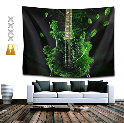 CIGOCI Bohemian Wall Hanging Hippie Hippy Tapestries - 40 x 60 inches, Music Abstract Green Guitars 3D Print Indian Dorm Decorations Bedding Tapestry, Ombre Tapestries Picnic Blanket ()
