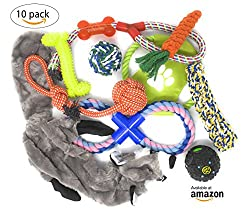 BFF Pups Dog Toys Value Set 10 Pack – Exclusive addition; Unstuffed Animal Plush Squeaker. Chewing Toy, Rope Toys, Throwing ball and Rope Frisbee, IQ Squeak Treat ball, Tug Rope Toy, Loop Rope toy