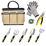 Dtemple 9pcs Ergonomic Garden Tools,Heavy Duty Gardening,Aluminum Hand Tool Kit Set Gloves/Tote/Pruner/Weede/ Rope/Cultivator (Beige)