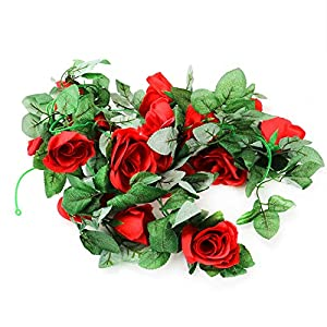 HUELE 7.5 Ft Artificial Rose Vine Fake Flowers Vine Fake Flower Garland for Home Hotel Office Wedding Party Garden Craft Art Decor 115