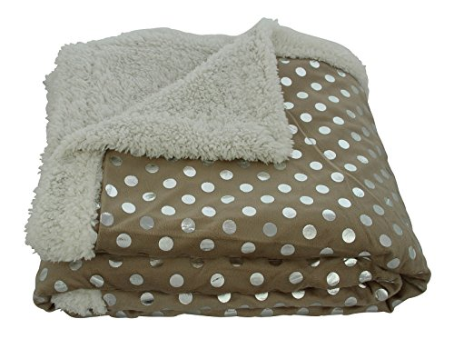 Sweet Home Collection Silver Dots Sherpa Reversible Poly Faux Lamb's Wool Throw Blanket, Taupe, 50