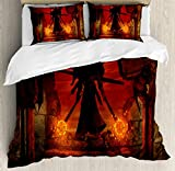 Horror Decor Duvet Cover Set by Ambesonne, Barbarian Evil Demonic Character Fictional Video Game Person Scary Artsy Graphic, 3 Piece Bedding Set with Pillow Shams, Queen / Full, Red