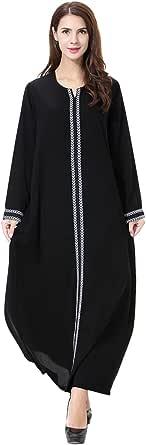 GladThink Womens Muslim Kaftan Abaya Round Neck Maxi Dress