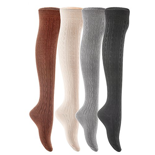Lian LifeStyle Women's 4 Pairs Over Knee High Thigh-High Cotton Socks LLS1024 Size 6-9(Black,Coffee,Dark Grey, Beige)