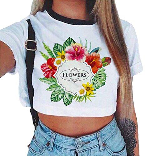 Tops Sciolto Donna Dew Baijiaye Stampato T Cool Cute Estiva Libero 4 Tee Shirt Ombelico Crop Primavera Motivo Tempo Modello Casual Maglietta 4PFwqFIx