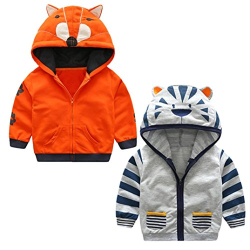 cd109c6c3 Infant Toddler Boy Girl Cartoon Animal Hooded Zipper Coat Kids ...