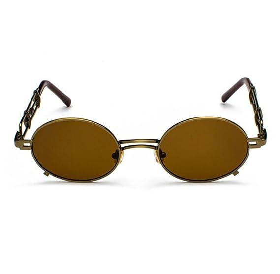 Lentes de sol retro de la lente de la personalidad de la tendencia de Steampunk del vintage Marco oval UV400 no polarizado WuwRDOD6E