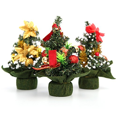 TOYMYTOY 3PCS Artifical Mini Christmas Tree with Pinecone Bows Balls Gifts Desktop Ornaments Xmas Party Decorations Christmas Bow Ball Ornament