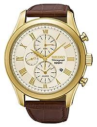 Seiko Men's SNAF72 Leather Strap Dress Chronograph Wrist Watch