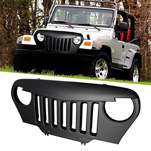 ICARS Front Matte Black Angry Bird Grill for 1997-2006 Jeep Wrangler TJ & Wrangler Unlimited -