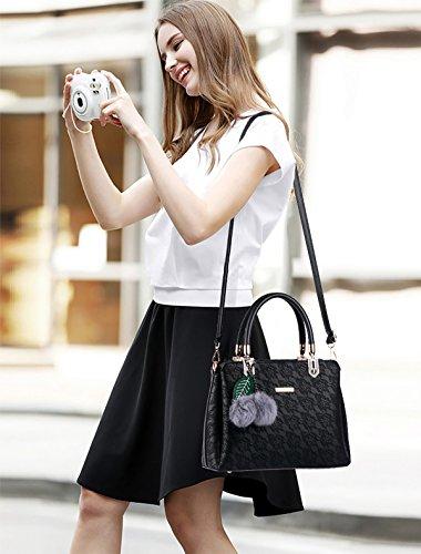 de Bolso bolso de encaje Tisdaini mensajero hombro Negro la relieve bolsos Bolso la de de las la del en PU mujeres carpeta manera de qA4xdx5F