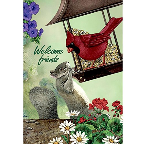 Rambling Welcome Cardinal Bird Squirrel Garden Flag,Sided Pr